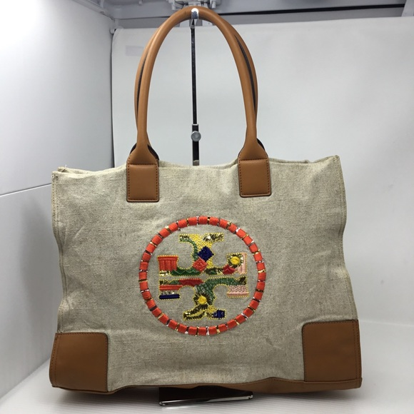 4217148f881 Tory Burch Ella Embroidered Nylon Tote Bag. M 5b677faa81bbc8535904d880